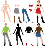 Woman silhouette model hair shoes clothes wardrobe vector illustration