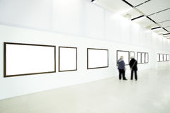 Woman silhouette in the museum Stock Images