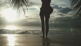 Woman silhouette over sunset sky, black shadow of female body with hands up. Young beautiful woman standing towards the sun on sea beach during an amazing stock video footage