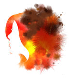 Woman silhouette plus abstract watercolor. Double exposure illustration. Woman silhouette plus abstract water color painted. Digital art painting Stock Photography