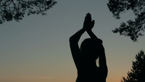 Woman silhouette practicing yoga in forest after sunset stock footage