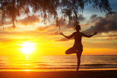 Woman silhouette practicing yoga on the sea beach at sunset Royalty Free Stock Image