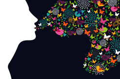 Woman silhouette profile colorful abstract elements. Beautiful woman silhouette profile with flowers, butterflies and birds composition. Season concept. Vector Stock Photo