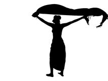 Woman silhouette with sarong Stock Photo