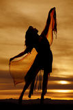 Woman silhouette sarong look up Royalty Free Stock Image