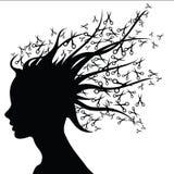 Woman silhouette scissors as hair. Stock Image
