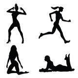 Woman silhouette set. Vector silhouettes of woman on various action royalty free illustration