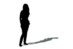 Woman silhouette with shadow Stock Photo