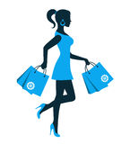 Woman silhouette with shopping bag. Female silhouette in a dress and with packages on a white background Stock Photos