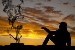 Woman silhouette smoke Stock Photo