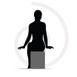 Woman silhouette on sofa Stock Images