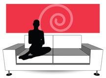 Woman silhouette on sofa Stock Photos