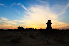 Woman silhouette sunset Stock Photo