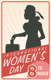 Woman Silhouette Voting in Retro Women's Day Poster, Vector Illustration Stock Photos