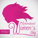 Woman Silhouette for the Women's Day Commemoration, Vector Illustration. Woman silhouette with pretty typography in Women's Day design Stock Photos
