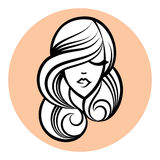 Woman silhouette, women's face drawing. Abstract design concept. Beauty hair. Vector illustration. For beauty salon, spa, cosmetics design, massage, cosmetic Stock Photo