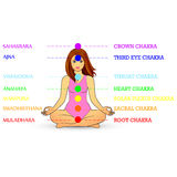 Woman silhouette in yoga pose with  chakras Royalty Free Stock Images