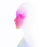 Woman silhouettelus abstract water color painted. Stock Photos
