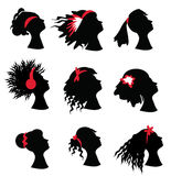 Woman silhouettes with diffrent haircuts. Vector set of graphic woman silhouettes with diffrent styles and hair decorations Royalty Free Stock Images