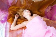 Woman in silk Stock Photo