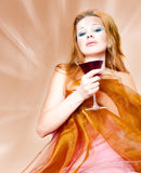 Woman in silk Stock Photography