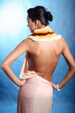 Woman in silk dress Stock Images