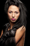 Woman with silky black hair Royalty Free Stock Images