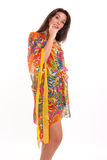 Woman in silky dress Stock Photos