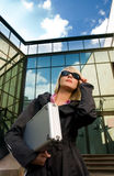 Woman with silver case Royalty Free Stock Photos