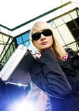Woman with silver case Royalty Free Stock Photography