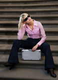 Woman with a silver case Stock Images