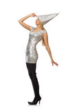 The woman in silver dress isolated on white Royalty Free Stock Photo
