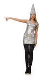The woman in silver dress isolated on white Royalty Free Stock Photography