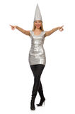The woman in silver dress isolated on white Royalty Free Stock Images
