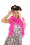 Woman silver outfit police hat boa smile Stock Image