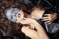 Woman with silver rhinestone mask Royalty Free Stock Photos