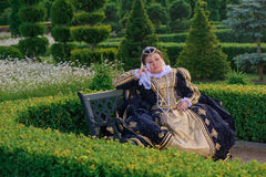 Woman in the similitude of Marguerite of Navarre, queen of France. Historical cosplay. Beautiful woman in the similitude of Marguerite of Navarre, queen of Royalty Free Stock Photo
