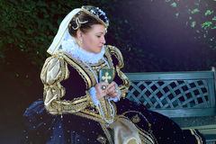 Woman in the similitude of Marguerite of Navarre, queen of France Stock Photo
