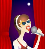Woman singer. Royalty Free Stock Images