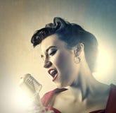 Woman singer stock photo