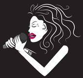 Woman Singer Black and White Royalty Free Stock Photo