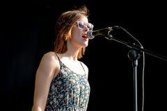 Woman singer of Kokoshca (Spanish band) performs at FIB Festival Stock Photos