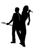 Woman singer and man guitar player. Silhouette of a woman singer and man guitar player.  white background. EPS file available Royalty Free Stock Image