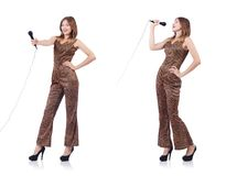 The woman singer with microphone on white. Woman singer with microphone on white stock photos