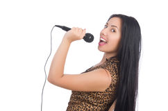 Woman singer with microphone Royalty Free Stock Photography