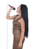 Woman singer with microphone Stock Image