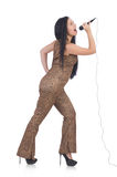 Woman singer with microphone Royalty Free Stock Photo
