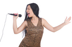 Woman singer with microphone Royalty Free Stock Images