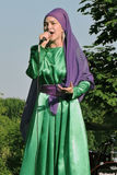 Woman singer performs at Sabantui celebration in Moscow Royalty Free Stock Images