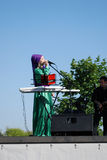 Woman singer performs at Sabantui celebration in Moscow Royalty Free Stock Image